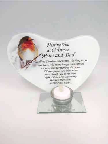 'Mum & Dad' robin glass plaque tea light holder.